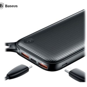 Baseus 20000mAh USB Type-C + Dual USB PD Flash Charging Quick Charge 3.0 Power Bank - 18W - Black