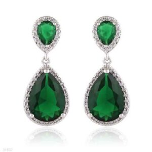 EARING 2 ZC DROPS LINKED SLVR-GREEN